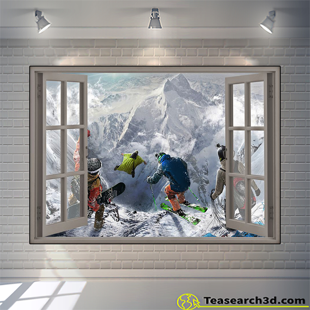 Winter sports window view poster A2