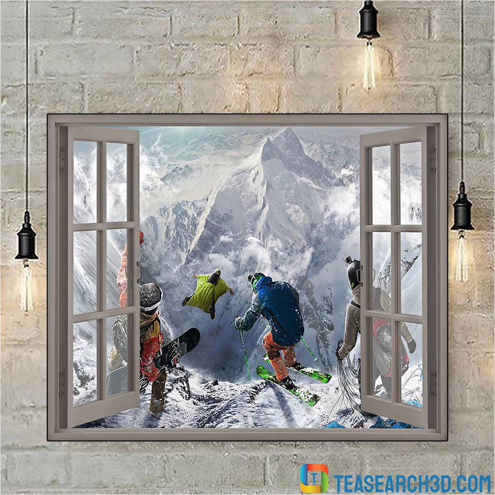 Winter sports window view poster