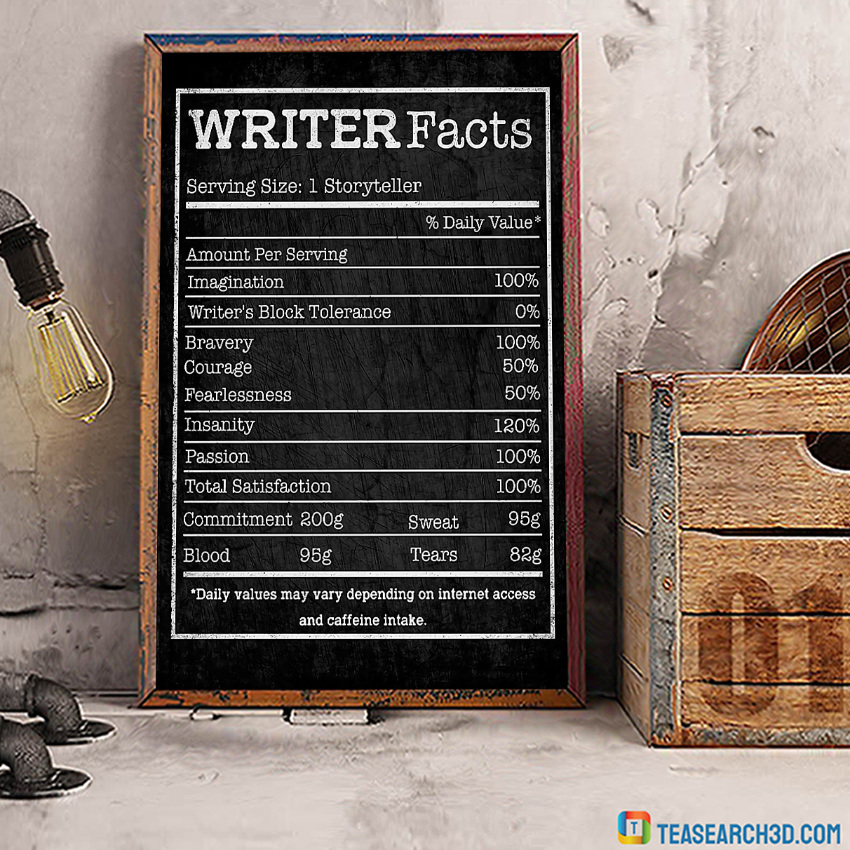 Writer facts serving size 1 storryteller poster A1