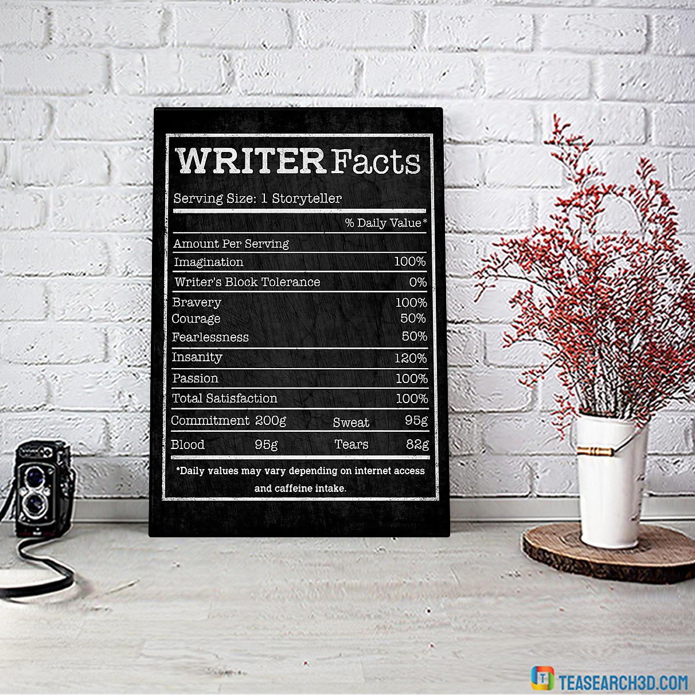 Writer facts serving size 1 storryteller poster A2