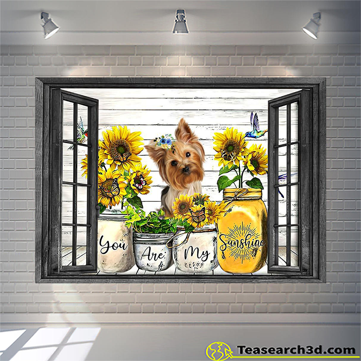 Yorkshire Terrier you are my sunshine window poster A1