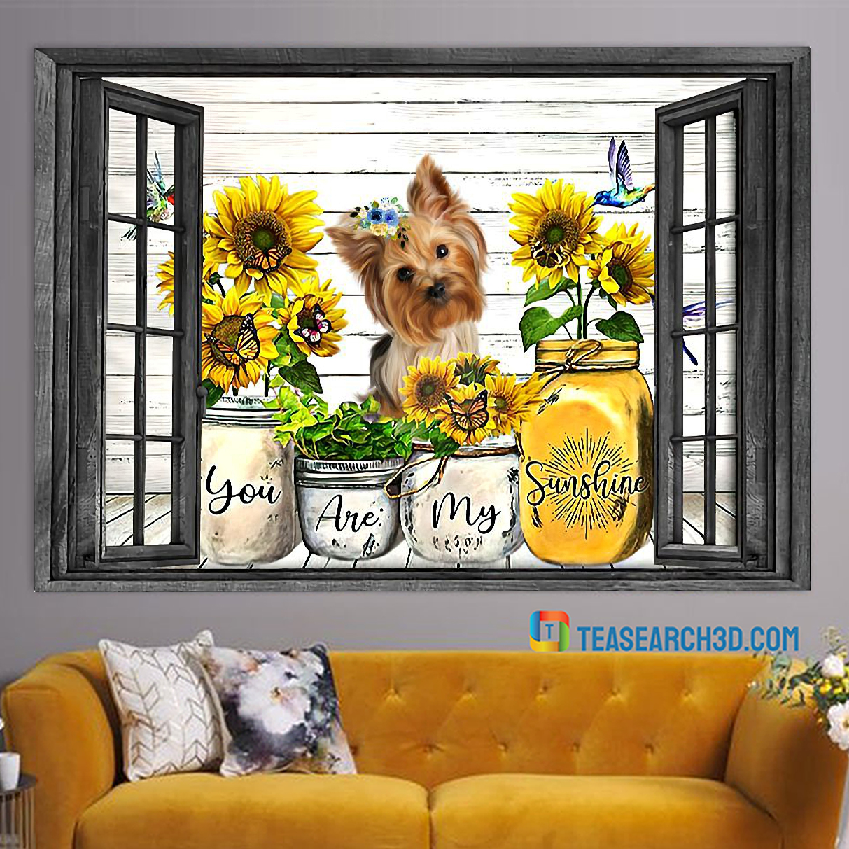 Yorkshire Terrier you are my sunshine window poster A3