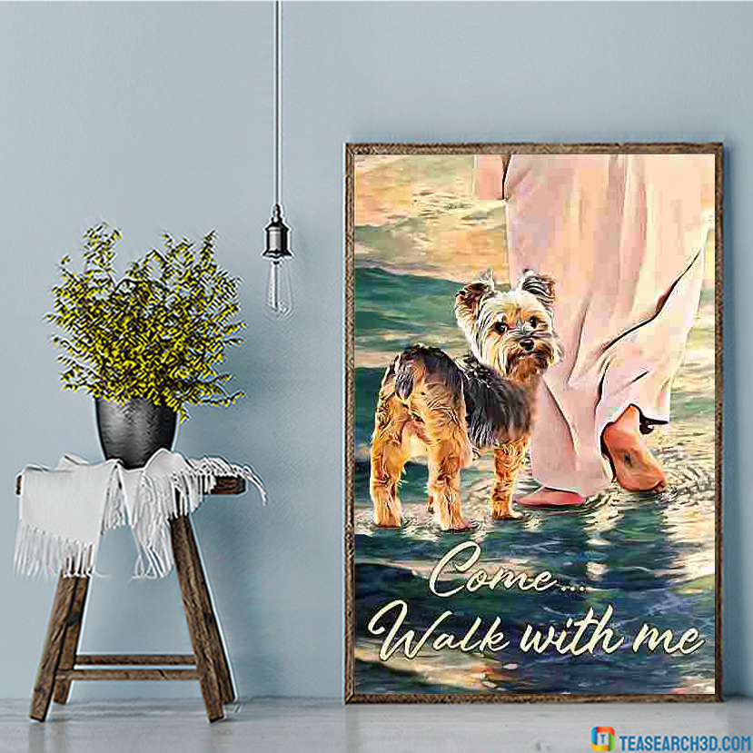 Yorkshire terrier walks with god canvas large