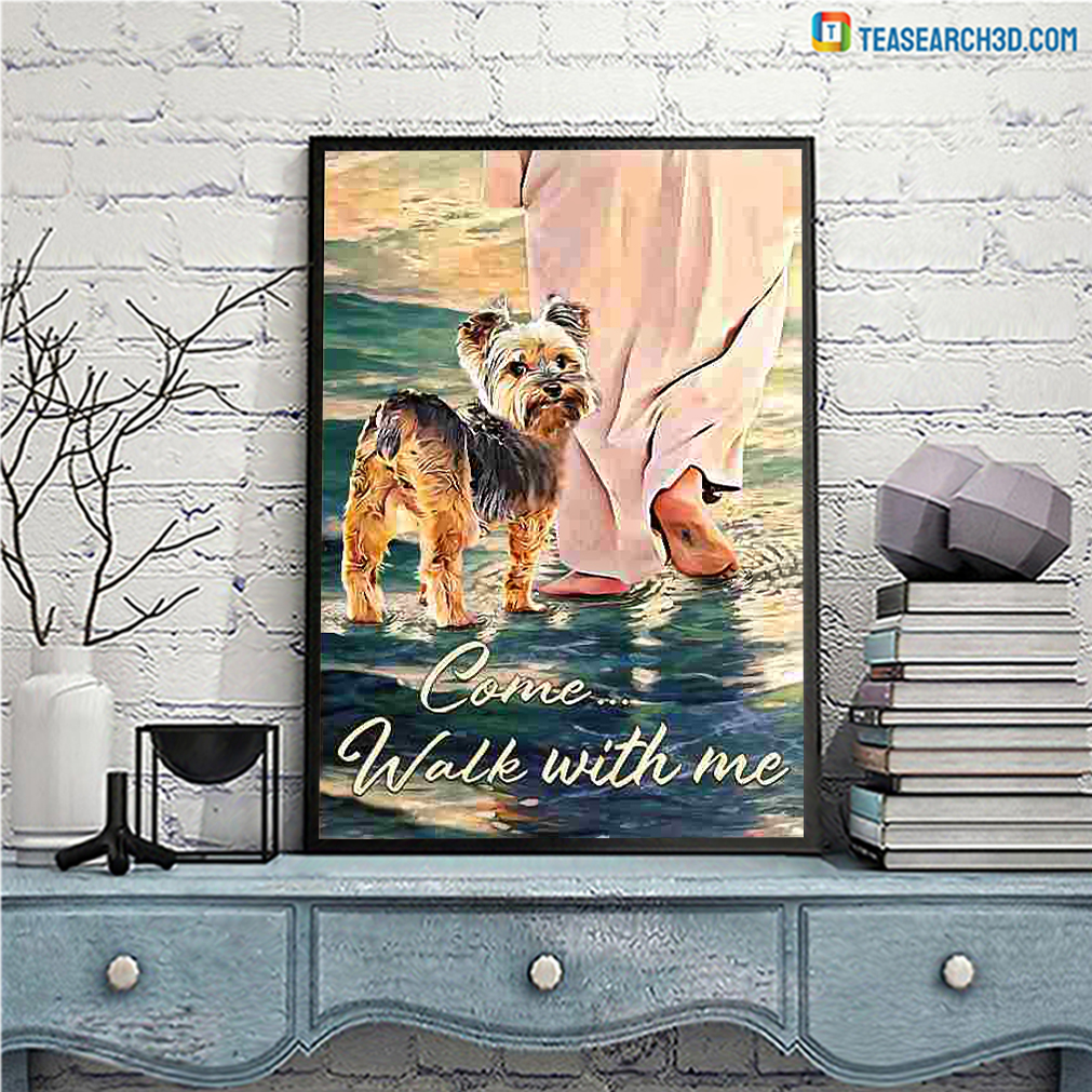 Yorkshire terrier walks with god canvas