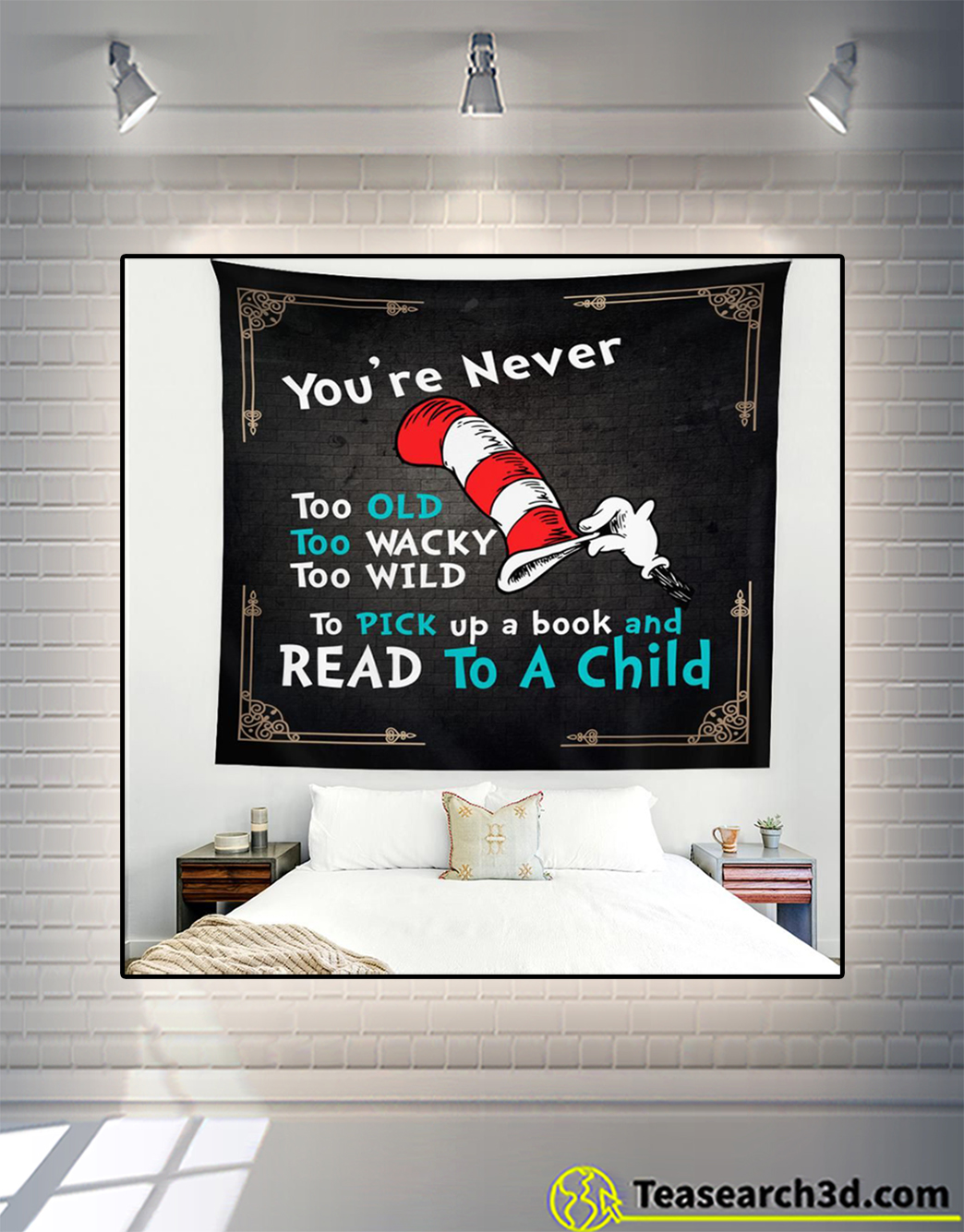 You're never too old read to a child tapestry 1
