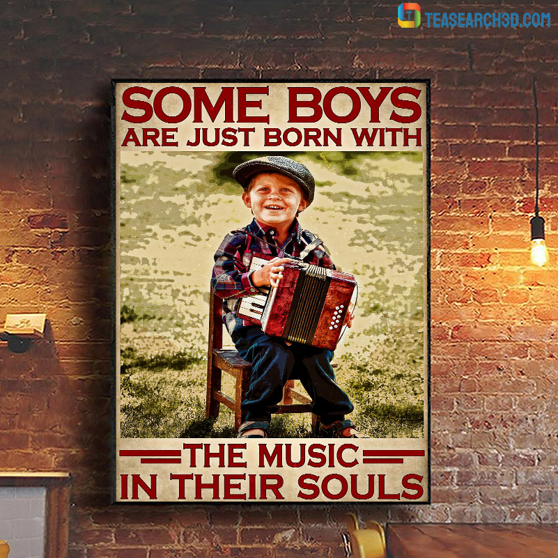 Accordion some boys are just born with the music in their souls poster A1