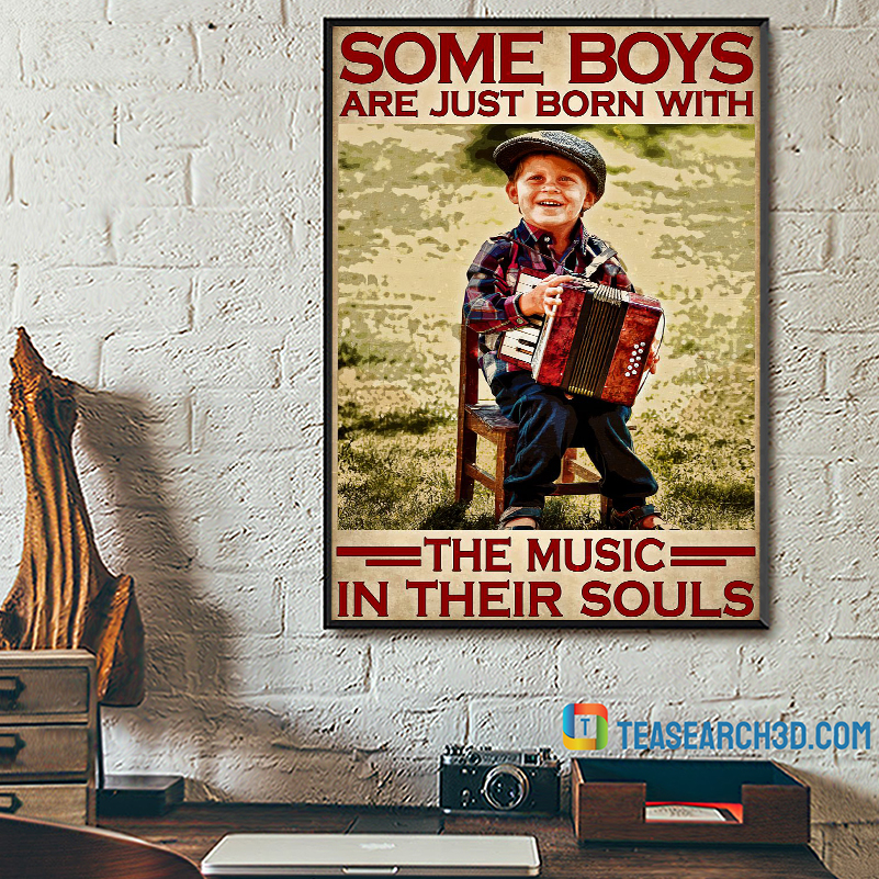 Accordion some boys are just born with the music in their souls poster A2