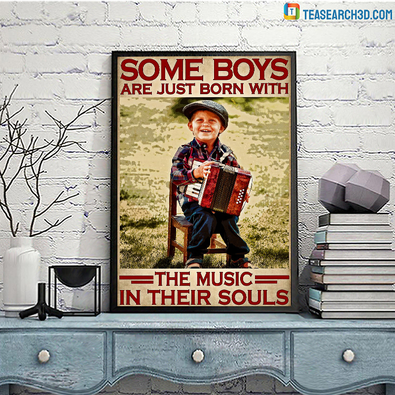 Accordion some boys are just born with the music in their souls poster A3