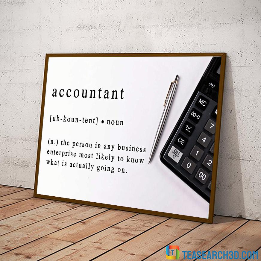 Accountant noun definition poster A3