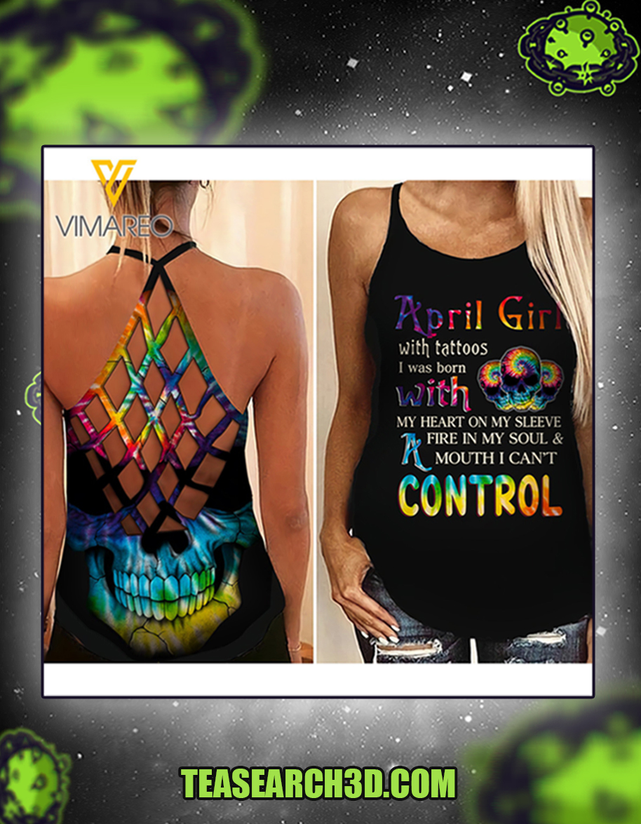 April girl with tattoos criss cross open back camisole tank top 1