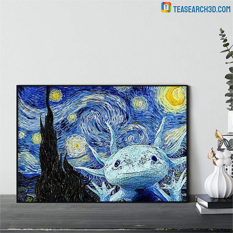 Axolot starry night van gogh art poster A1