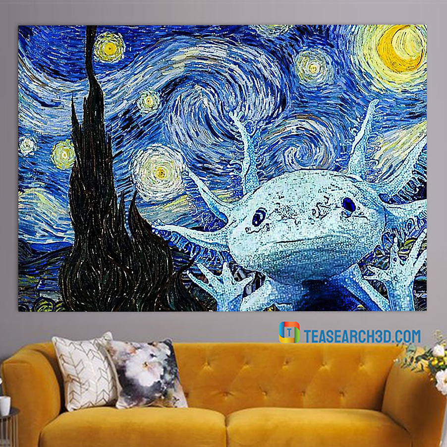 Axolot starry night van gogh art poster A2