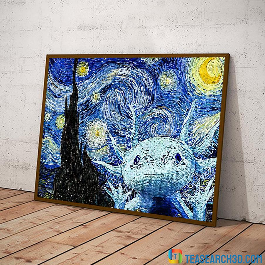 Axolot starry night van gogh art poster A3