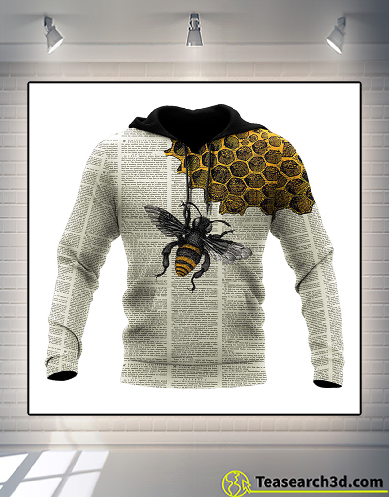 Bee dictionary page 3d all over printed hoodie