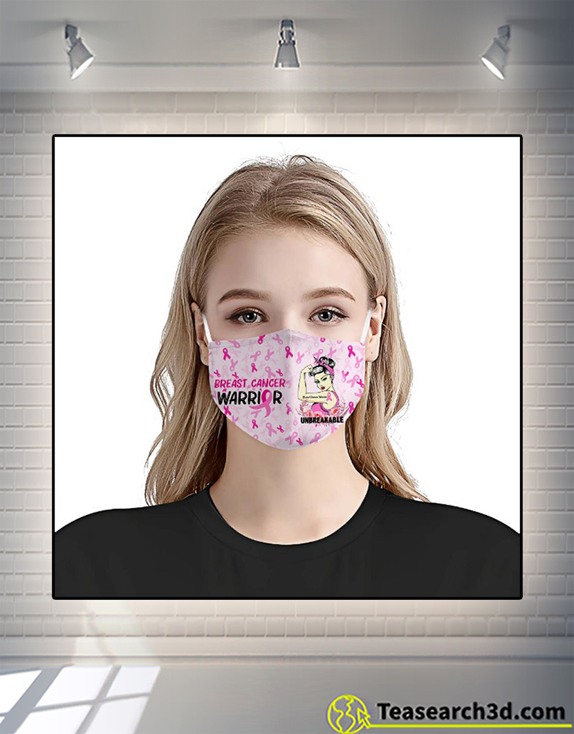 Breast cancer awareness warrior unbreakable face mask 1