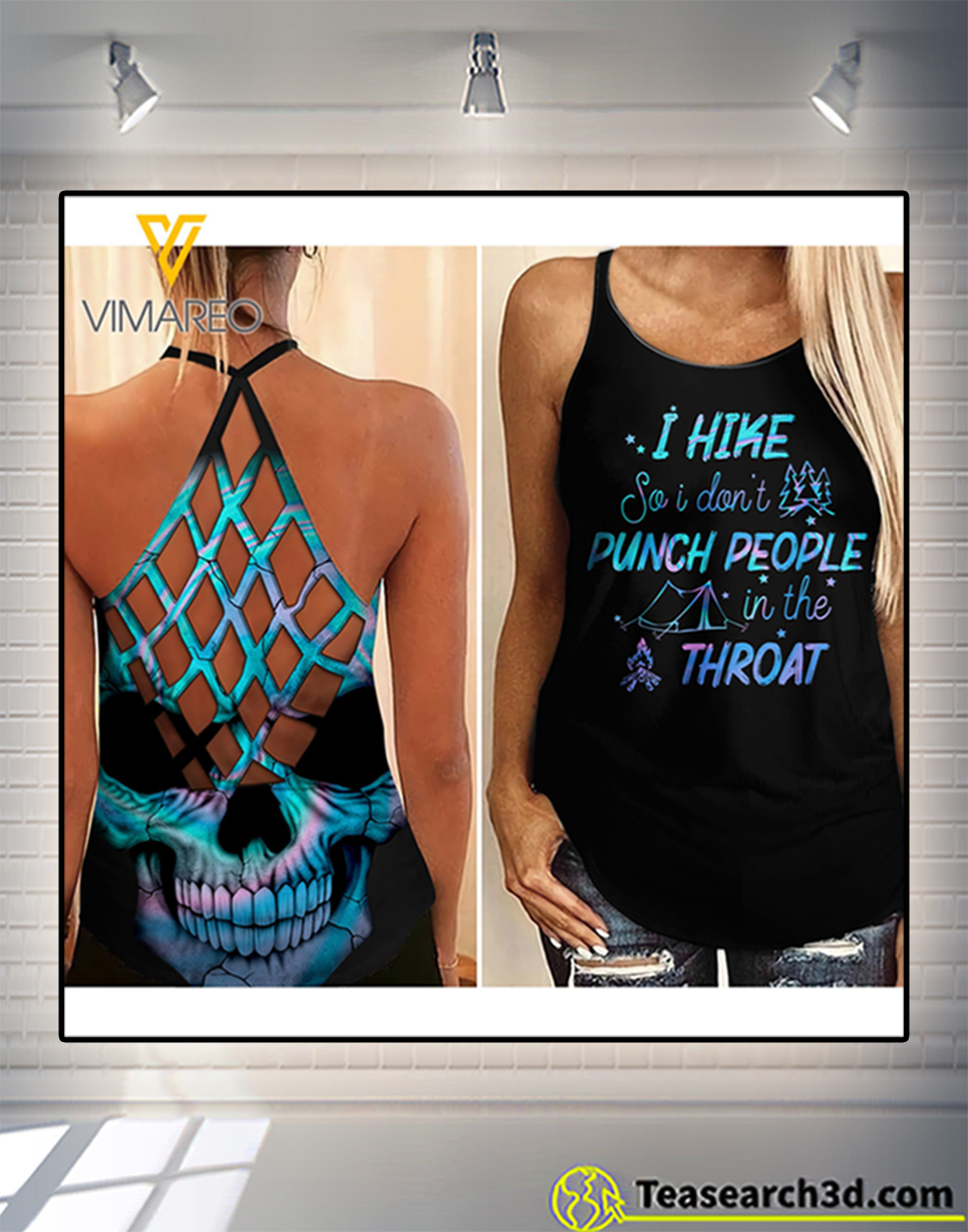 Camping I hike criss cross open back camisole tank top
