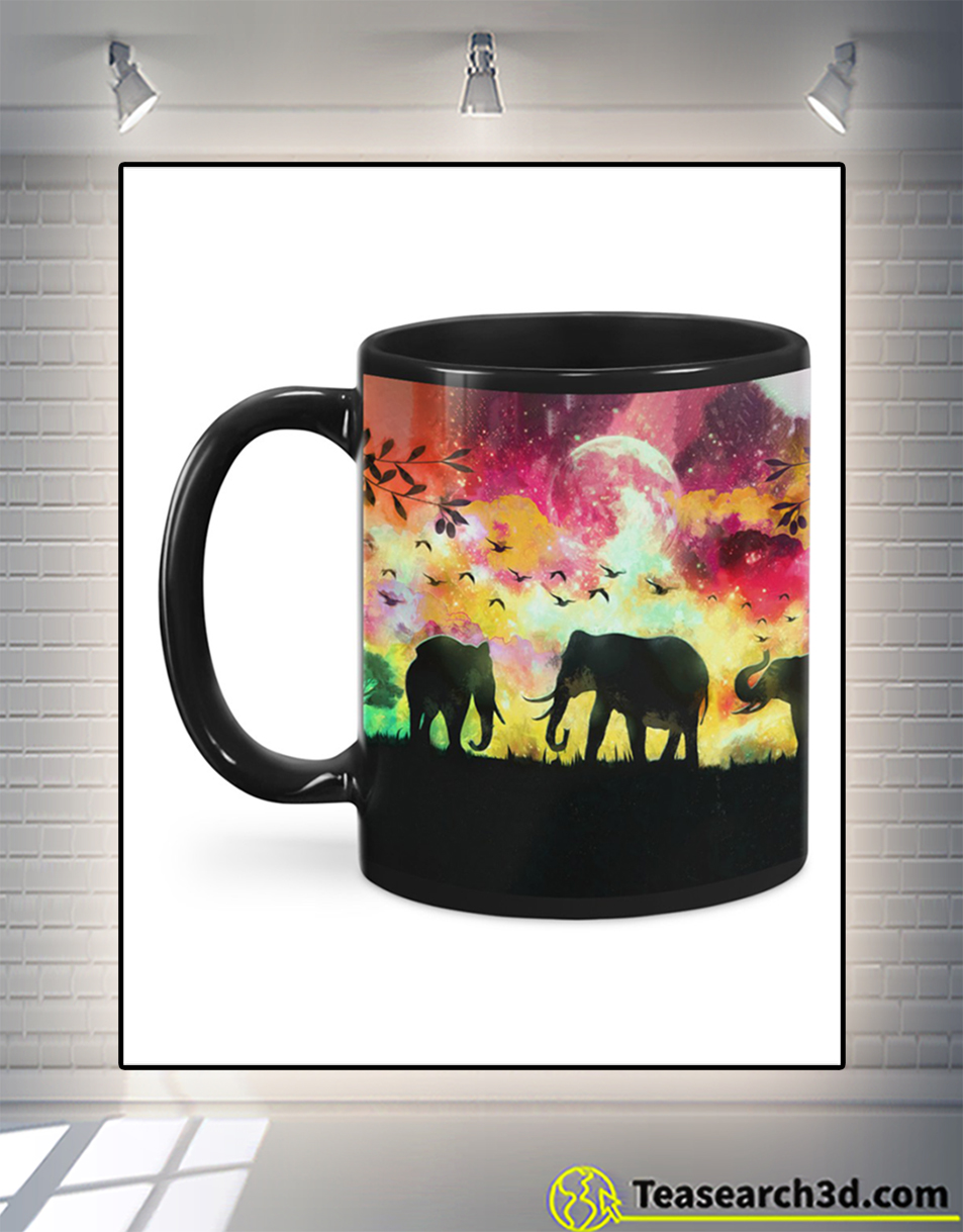 Elephants in a forest at night oil painting mug back