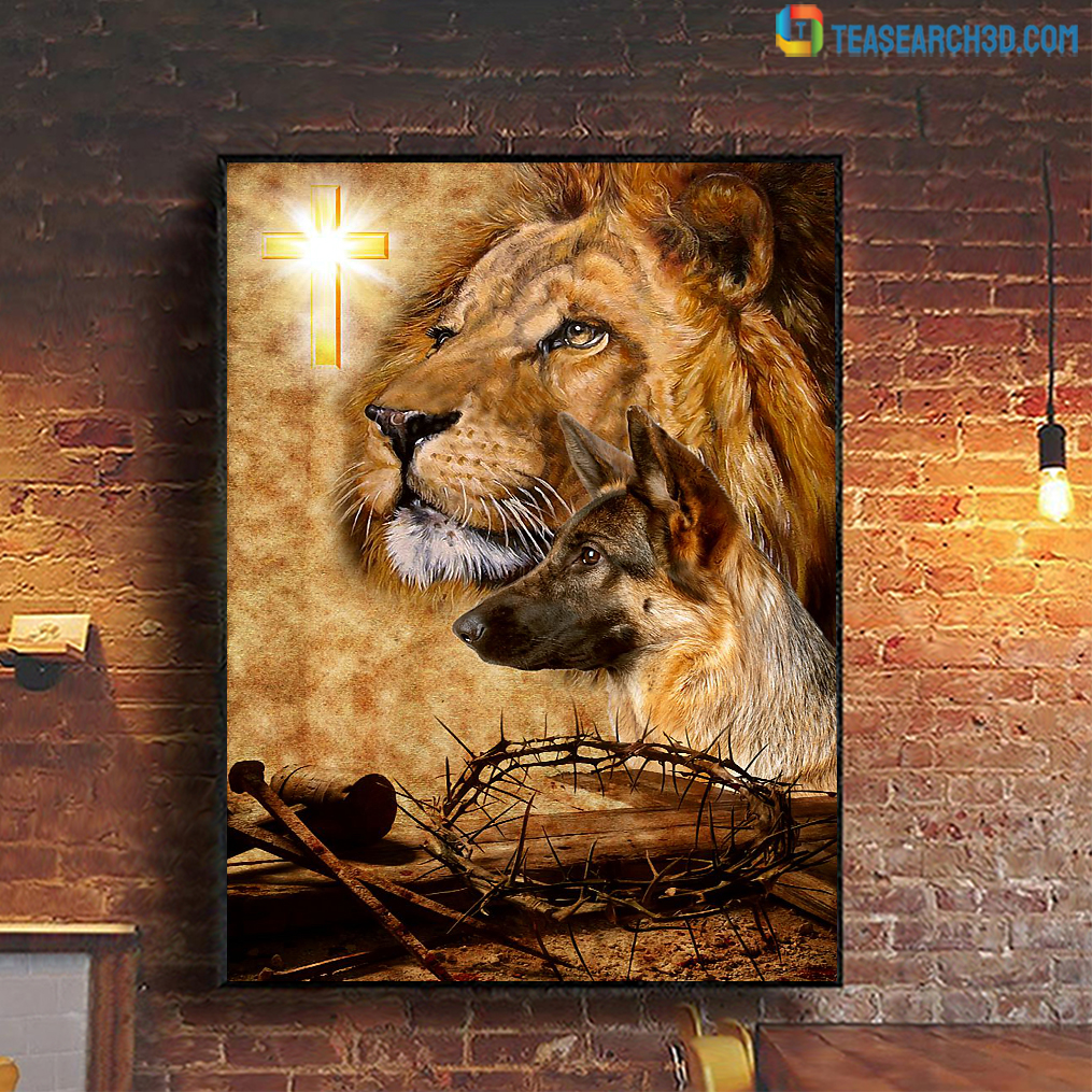German Shepherd god crown of thorn and nail poster