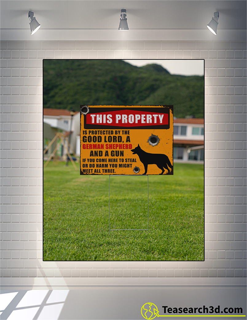 German shepherd this property is protected yard sign 2