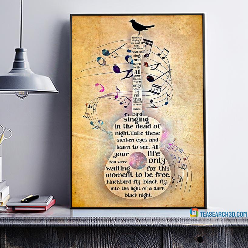 Guitar bird blackbird singing in the dead of night poster A1