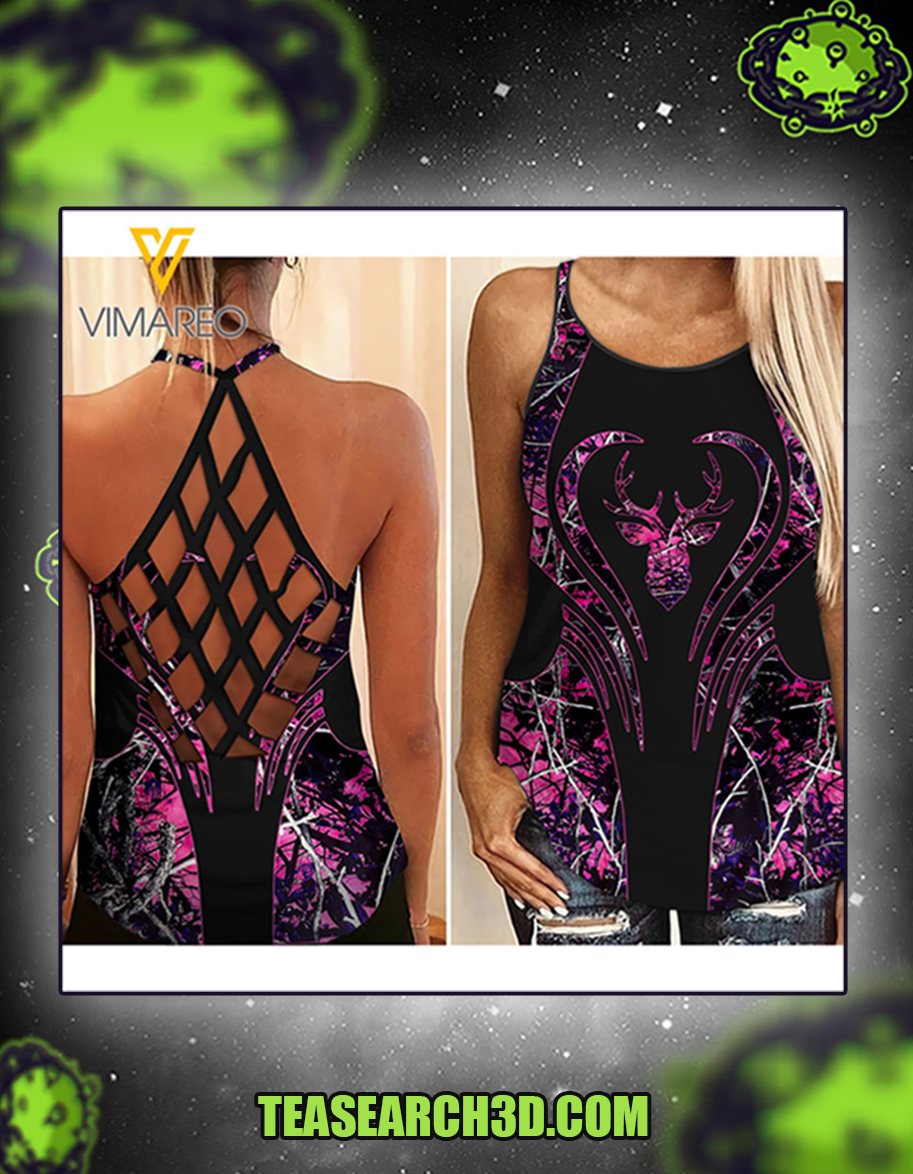 Hunting girl criss cross open back camisole tank top 1