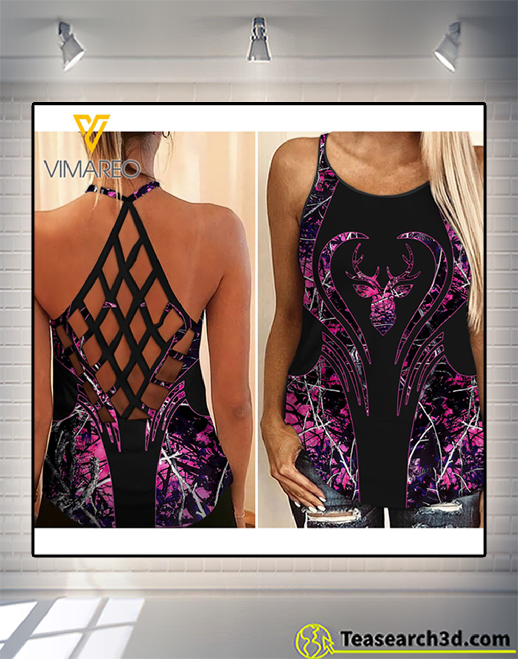 Hunting girl criss cross open back camisole tank top