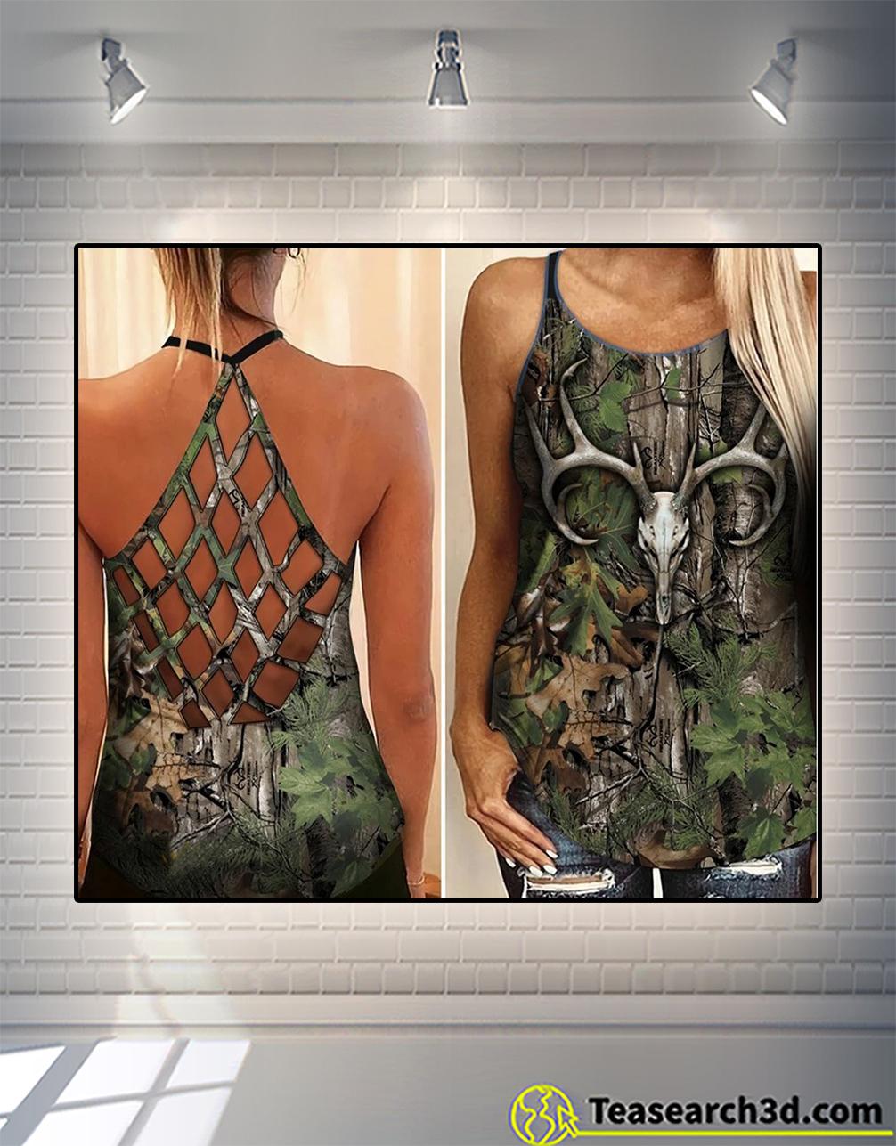 Hunting girl criss cross open back tank top