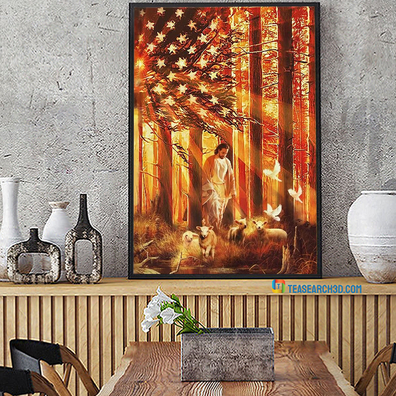 Jesus walking with the lambs american flag canvas large