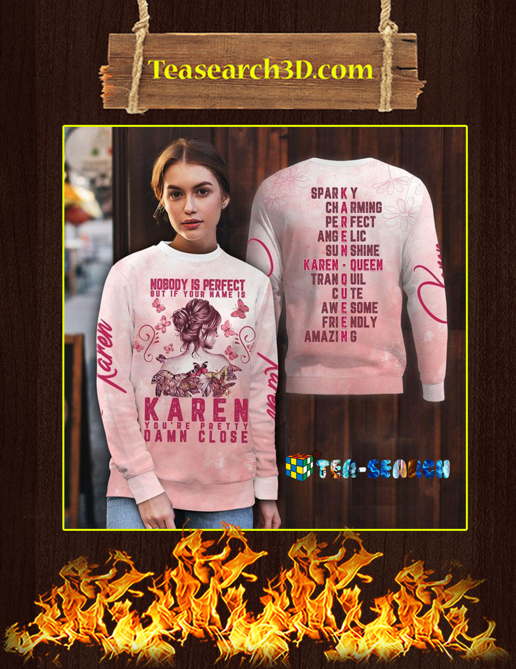 Karen nobody is perfect but your name 3d all over printed hoodie