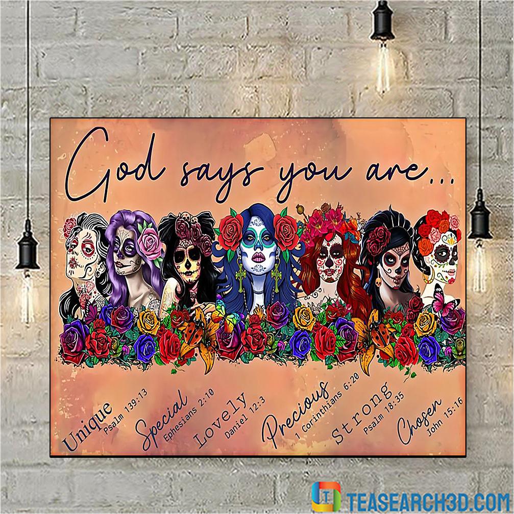 Latin Sugar skull girls god says you are poster