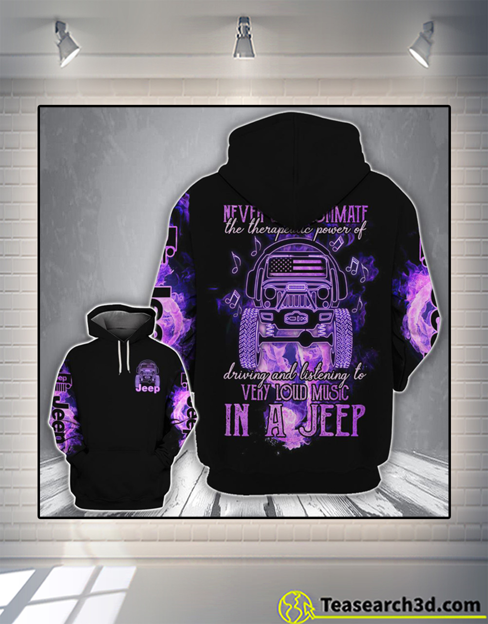 Loud music in a jeep 3d all over printed hoodie