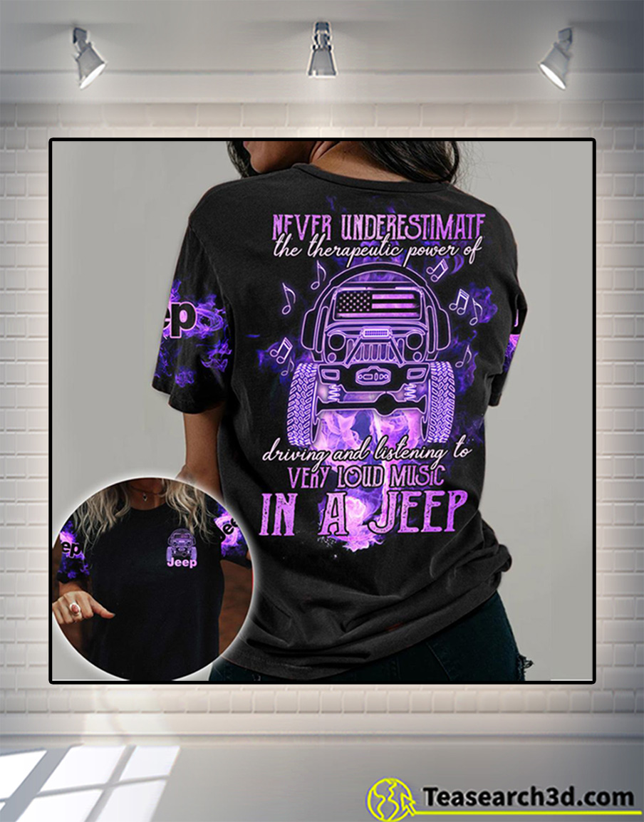 Loud music in a jeep 3d all over printed shirt