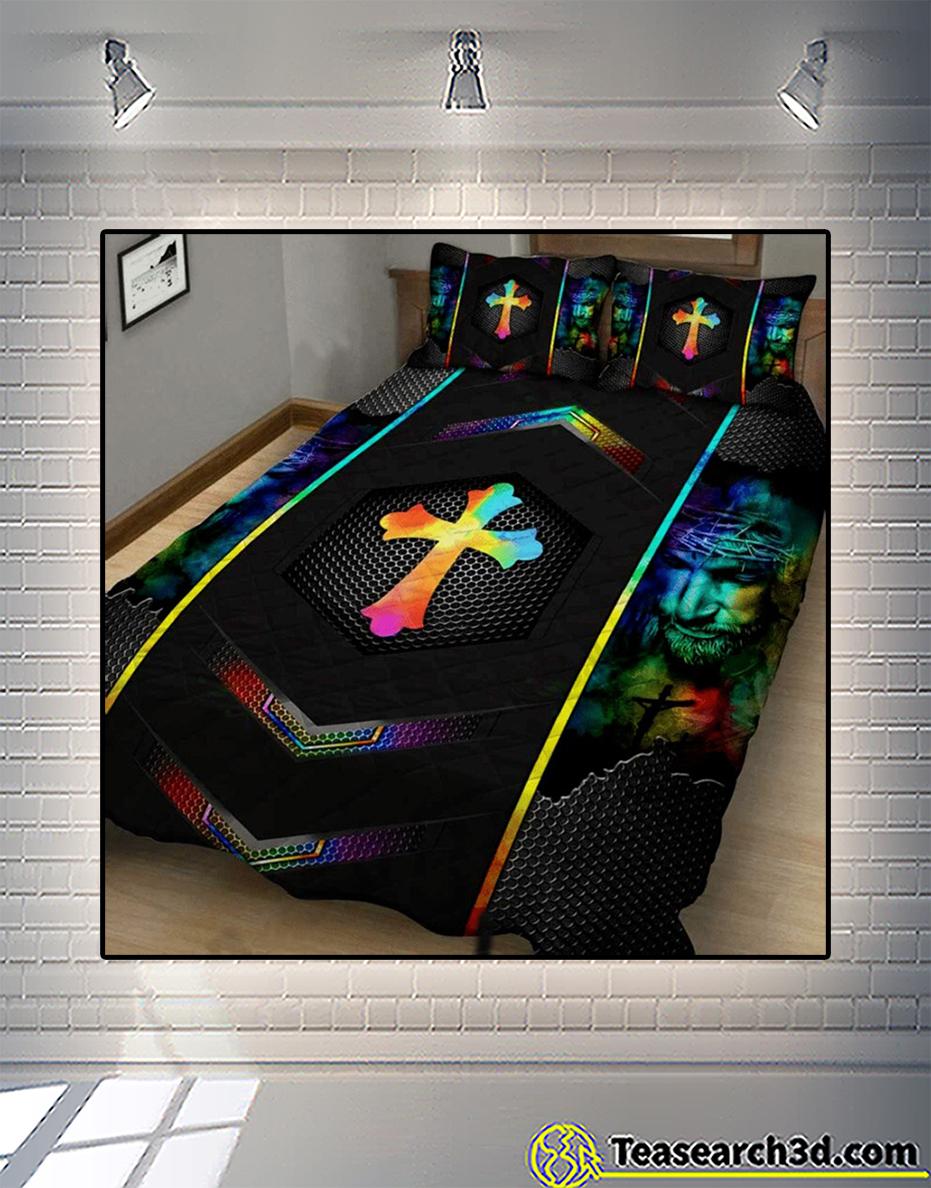Love jesus cross quilt bed set 1