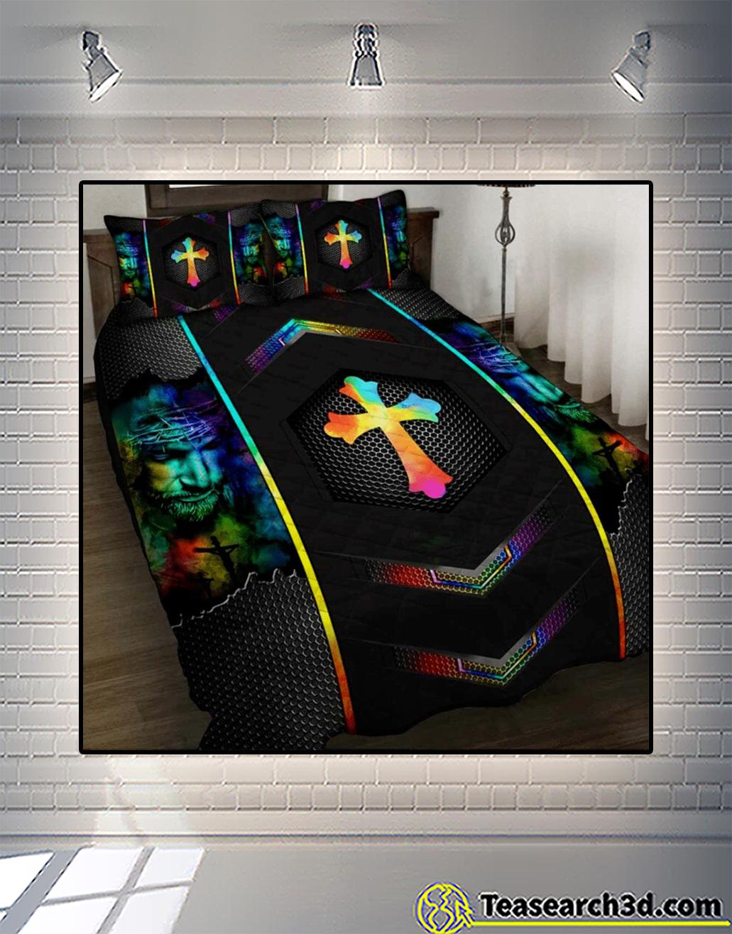 Love jesus cross quilt bed set