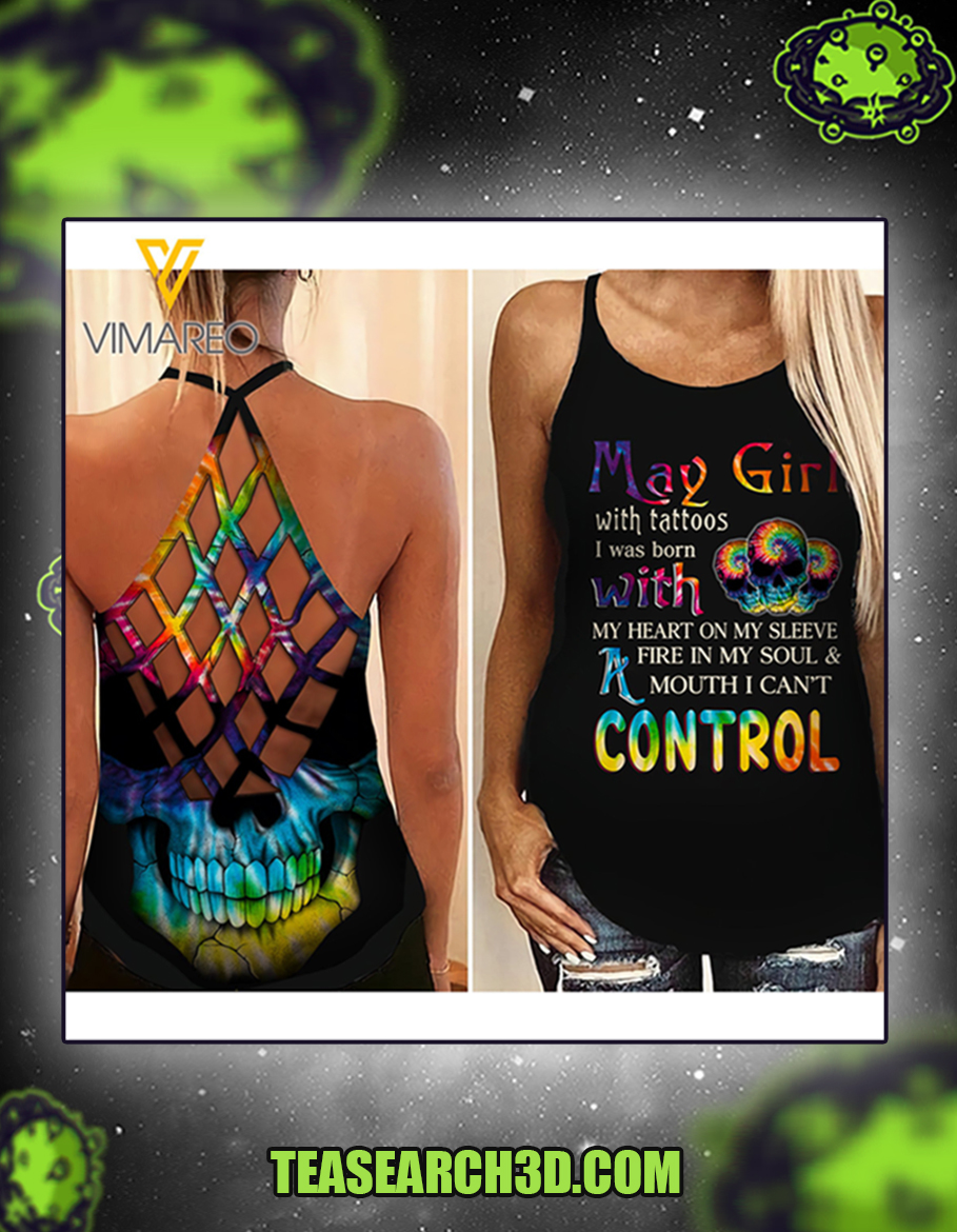 May girl with tattoos criss cross open back camisole tank top 1