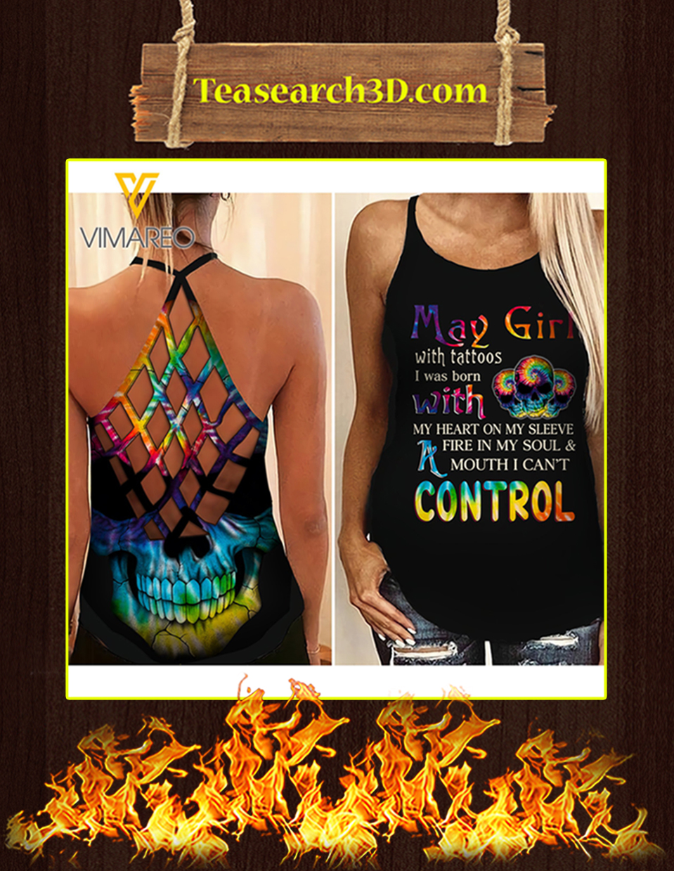 May girl with tattoos criss cross open back camisole tank top 2