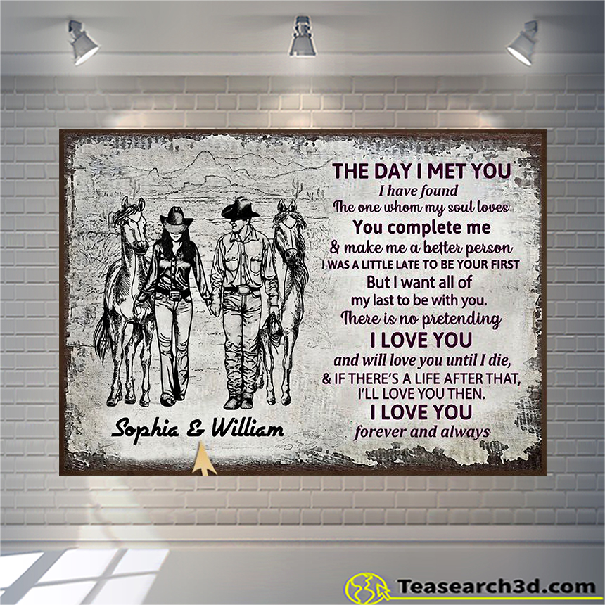 Personalized cowboy couple the day I met sketch customized poster A1
