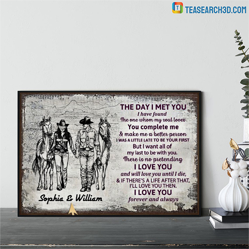 Personalized cowboy couple the day I met sketch customized poster A2