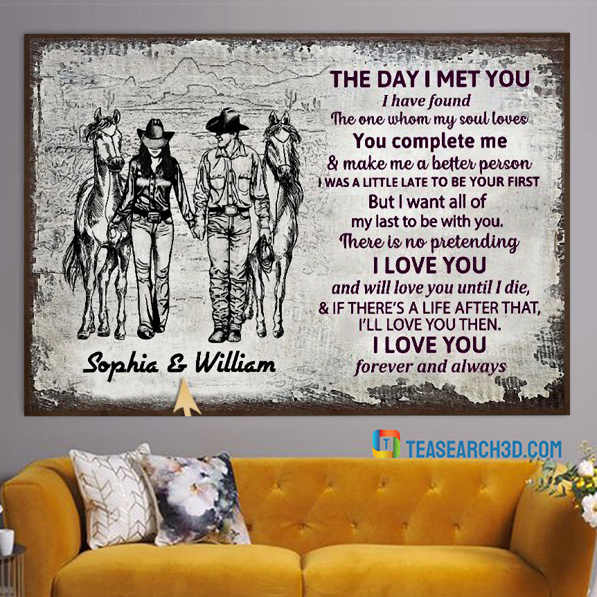 Personalized cowboy couple the day I met sketch customized poster A3