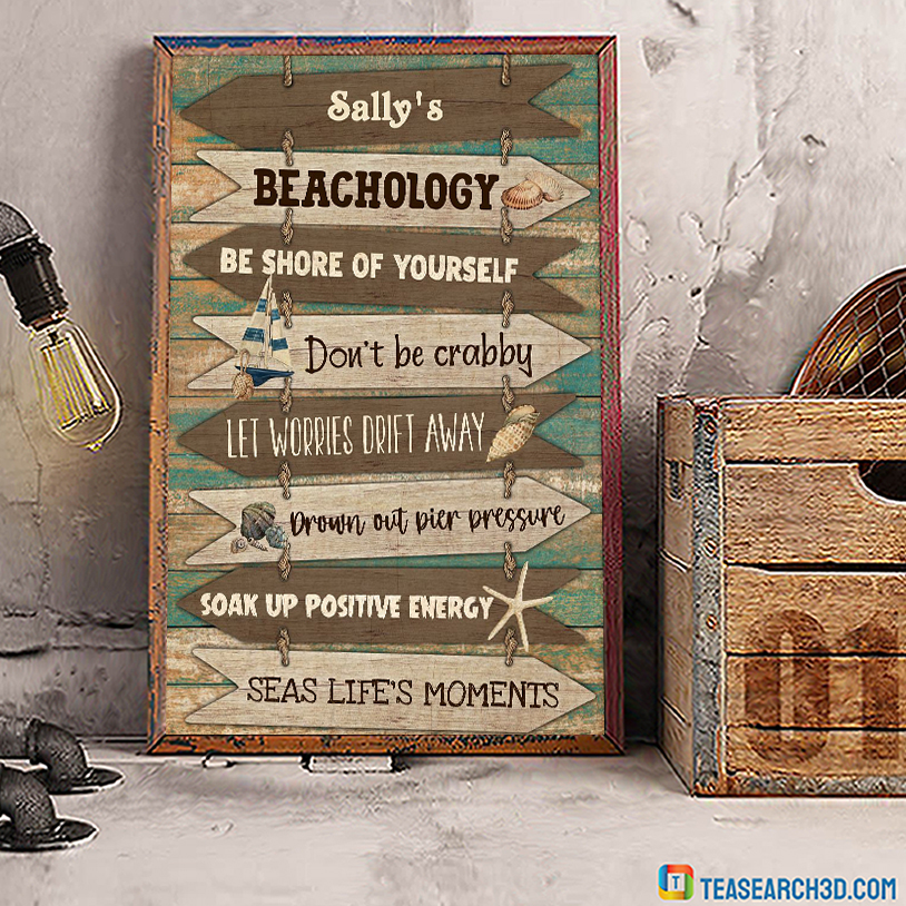 Personalized custom name Beachology be shore of yourself poster A1