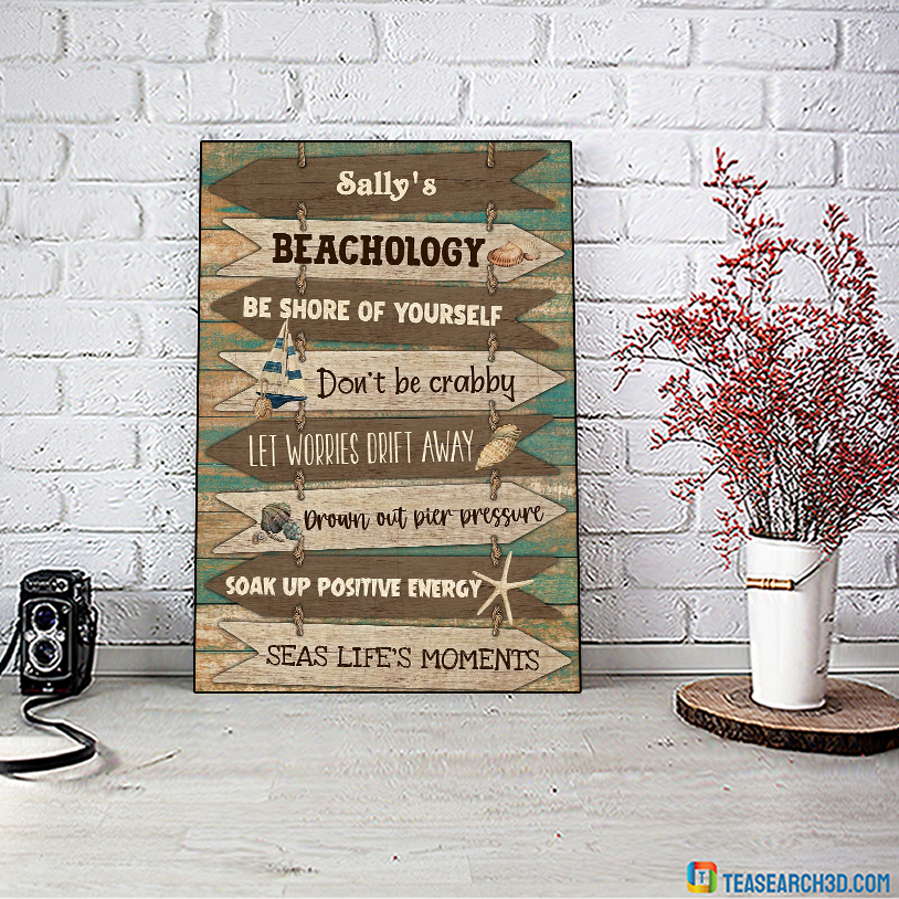 Personalized custom name Beachology be shore of yourself poster A2