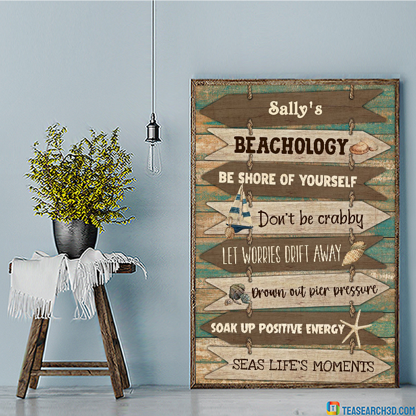 Personalized custom name Beachology be shore of yourself poster A3