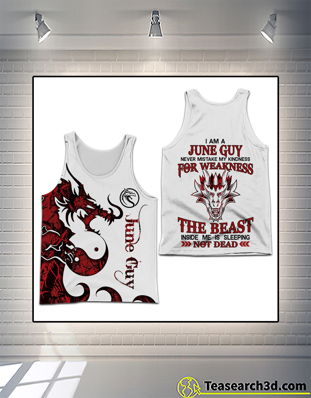 Personalized custom name I am a June guy 3D all over printed tank top