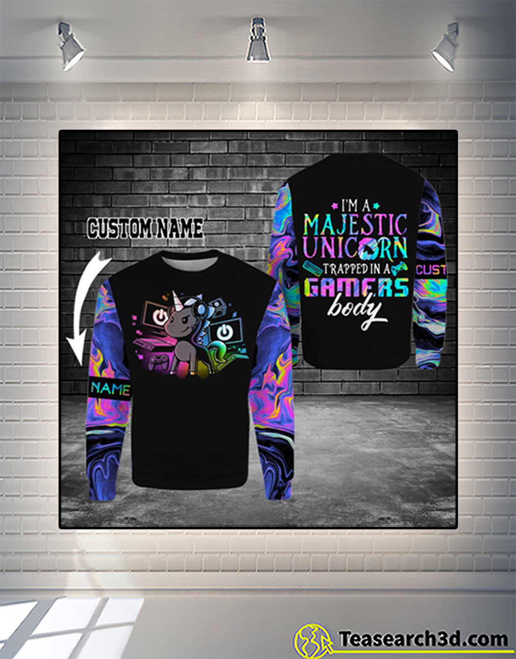 Personalized custom name gamer I'm a majestic unicorn 3d sweatshirt
