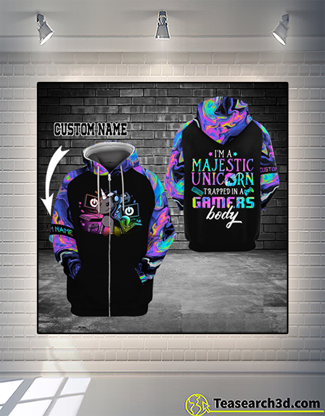 Personalized custom name gamer I'm a majestic unicorn 3d zip hoodie