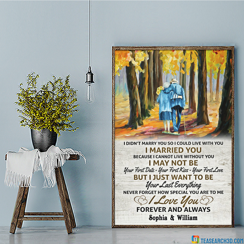 Personalized custom name old couple I married you canvas