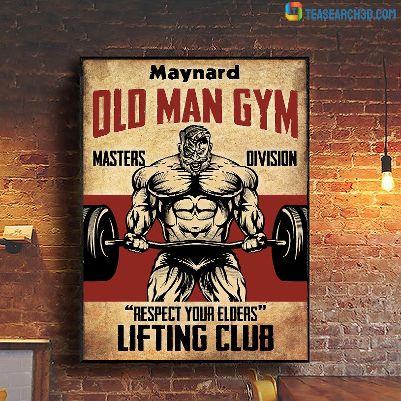 Personalized custom name old man gym masters division poster A1