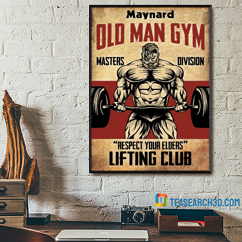 Personalized custom name old man gym masters division poster A2
