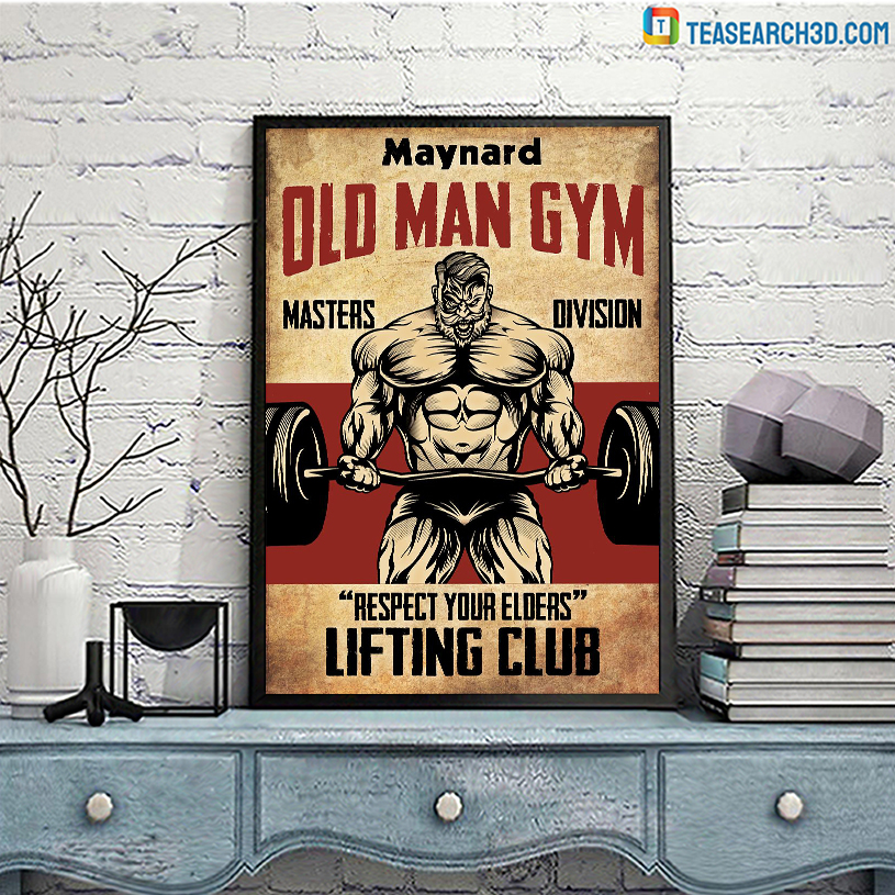 Personalized custom name old man gym masters division poster A3