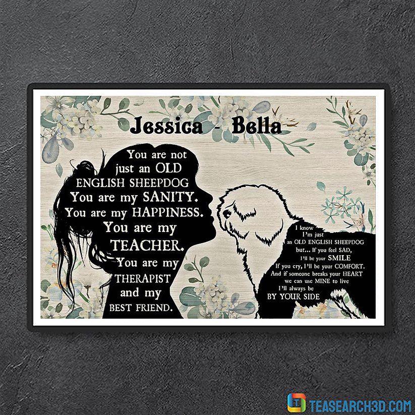 Personalized custom name you are not just an Old English Sheepdog poster A3